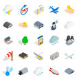 airliner flight icons set isometric style vector image vector image