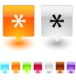 asterisk square button vector image vector image