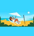 bikini woman sunbathing on sea beach girl in vector image