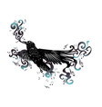 black raven with music notes vector image vector image
