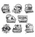 camping hiking kayaking icons travel tourism vector image vector image