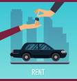 car seller hand giving key to buyer selling vector image vector image