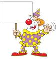 Cartoon clown holding a sign vector image vector image