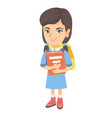 caucasian schoolgirl with backpack and textbook vector image vector image