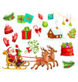christmas holiday icons and characters vector image