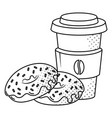 coffee and donuts black and white vector image vector image