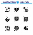 coronavirus awareness icon 9 solid glyph black vector image vector image