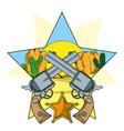 cowboy revolvers crossed cartoon vector image