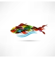 creative abstract fish icon vector image vector image