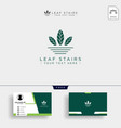 creative eco logo with green leafs and stairs vector image