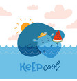 cute hippopotamus sweeming in blue water and vector image