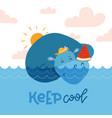 cute hippopotamus sweeming in blue water vector image