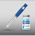 diabetes insulin pen syringe and vial vector image vector image