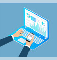 digital analytics laptop cell vector image