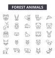 forest animals line icons signs set vector image vector image