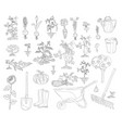 gardening set coloring book vector image