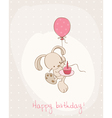 Greeting birthday card with cute bunny vector image