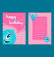 happy birthday card template with cartoon vector image vector image