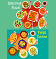 healthy food dish icon set for dinner menu design vector image vector image