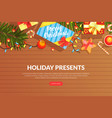 holiday presents landing page template online vector image