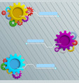 infographics with colorful gears on the grey woode vector image vector image