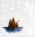 ink wash painting with three dark blue pine trees vector image vector image