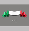 italian flag wavy ribbon background vector image