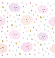 kawaii clouds and drops seamless pattern vector image vector image