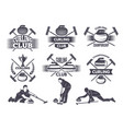 labels for curling sport team vector image vector image
