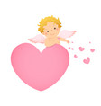little cupid behind pink heart vector image vector image