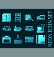 logistics set icons blue glowing neon style vector image