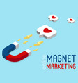 magnet marketing banner in isometric style vector image vector image