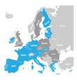 map of eurozone states using euro currency grey vector image