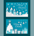 merry christmas paper cut greeting card with snow vector image vector image