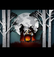 paper art of happy halloween vector image vector image