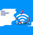 people in free internet zone working vector image vector image