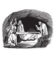 peter finds the tomb of jesus empty vintage vector image