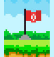 pixel art flat style flag icon 8-bit sprite game vector image