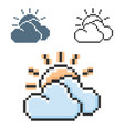 pixel icon sun with clouds partly cloudy vector image
