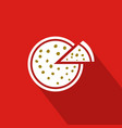 pizza flat icon with red background vector image