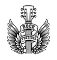 rock festival guitar head with wings design vector image