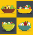 salad bowl banner horizontal set flat style vector image