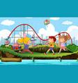 scene background design with circus in rain vector image