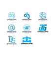 set initial letter dg logo design template vector image vector image