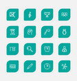 set of 16 editable teach outline icons includes vector image vector image