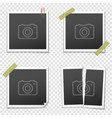 set of vintage photo frames on transparent vector image