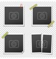 set of vintage photo frames on transparent vector image vector image