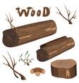 set of wood elements vector image