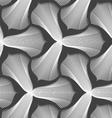 Slim gray striped trefoil flower with black bevel vector image vector image