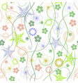 spring garden abstract flowers - seamless pattern vector image
